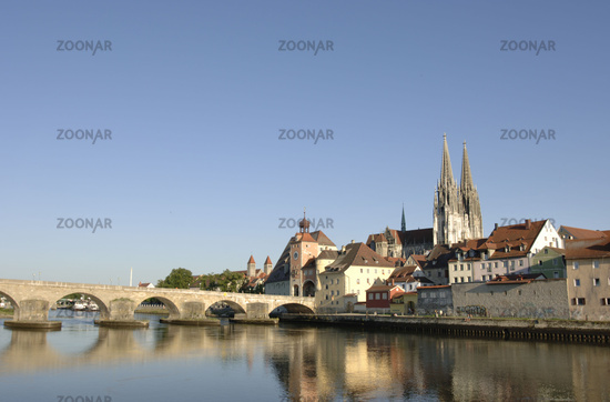 german city regensburg with bridge and cathedral