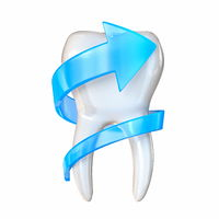 Tooth protection concept with blue arrow 3D