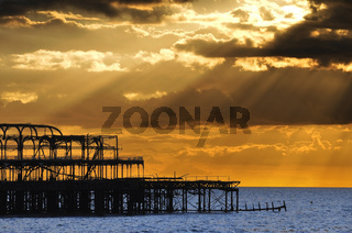 The West Pier in Brighton at sunset