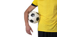 Soccer player holding a ball
