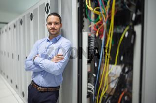 Man leaning against server locker
