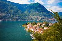 Idyllic town of Torno on Como lake aerial view