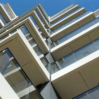 modern facade of a newly built apartment building at the Baltic Sea near Kolobrzeg in Poland