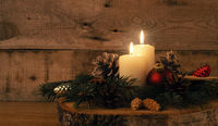 Second Advent candle burning, traditional Christmas decoration