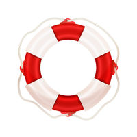 Bright realistic marine lifebuoy, water safety concept icon on white