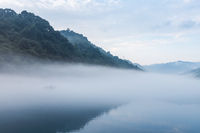 misty river in early morning