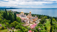 Top view of Orthodox monastery in Novy Afon, Abkhazia.  Christian temple in New Athos. Photo from above.
