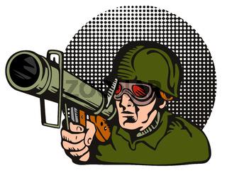 Soldier Aiming Bazooka