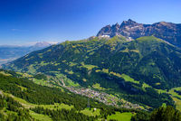 View of Champéry in summer, a town in Alps in Switzerland, Europe