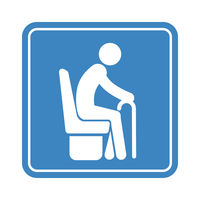 Sitting old man with a cane, detailed blue icon for public transport on the white background