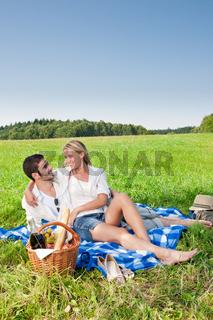 Picnic - Romantic couple in sunny meadows
