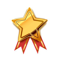 Bright golden award in star shape with red tape, glossy winner badge on white