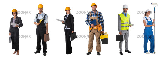 Set of professional construction workers