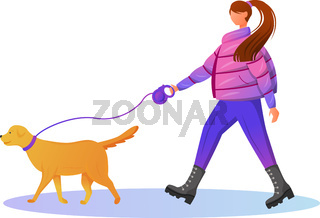 Woman in gradient coat flat color vector faceless character. �aucasian lady walking with dog. Rainy day. Wet weather. Stylish female in boots isolated cartoon illustration on white background