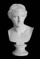 Gypsum copy of ancient statue Venus head isolated on black background. Plaster sculpture woman face