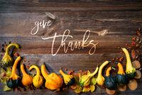 Autumn Pumpkin Decoration, English Text Give Thanks