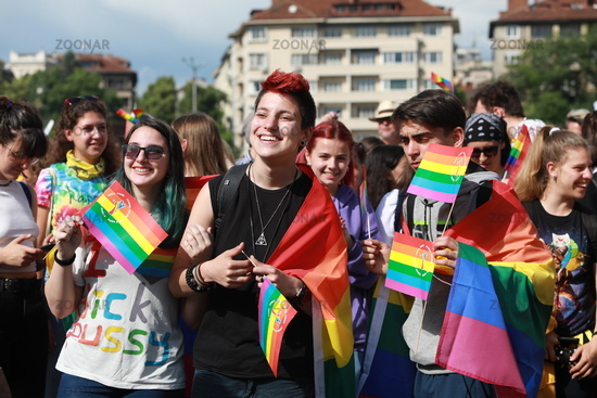 People participate in the annual LGBT Sofia Pride event in support of LGBT rights
