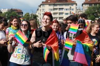 People participate in the annual LGBT Sofia Pride parade at evening sun, Sofia, Bulgaria