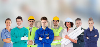 Group of people with different jobs standing