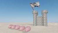 brainstorming brains together solve prolbem attacking castle 3d render