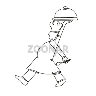 Chef Cook or Baker Serving a Food Platter Side View Continuous Line Drawing