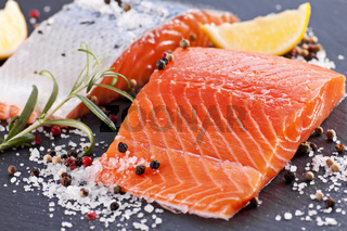 Fresh Salmon with salt and spices