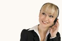 blonde call center agent