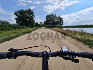 bicycle wheel on gravel