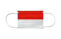 Flag of Indonesia on a disposable surgical mask. White background