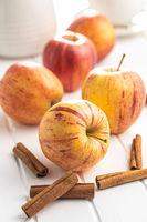 Fresh autumn apples and cinnamon sticks