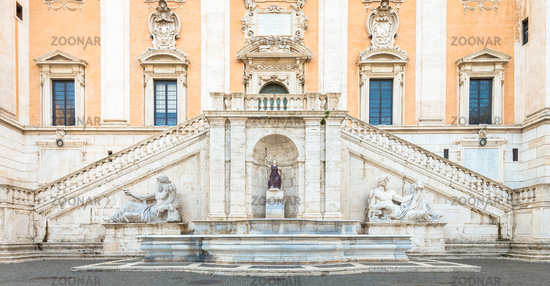 Rome, Italy. View of the staircase of the Palazzo Senatorio by Michelangelo, a Renaissance masterpiece.