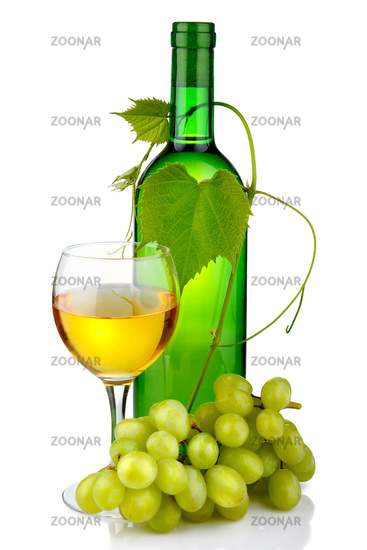 Bottle of wine with glass and grape branch isolated