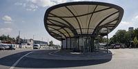 Bus station, Leverkusen, North Rhine-Westphalia, Germany, Europe