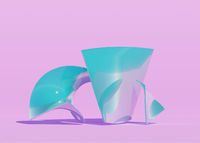 Abstract transparent 3d render of glass objects in pink studio. Blue color stand
