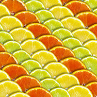Background with slices of lemon and orange
