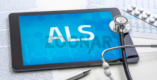 The word ALS on the display of a tablet