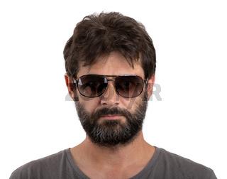 portrait of ordinary bearded man