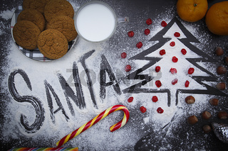 Christmas background with a treat for Santa