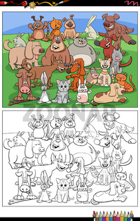 cartoon dogs and cats and rabbits characters coloring book page
