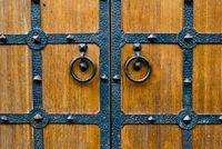 Wooden door with metal door handle