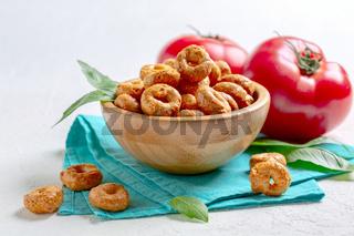 Spicy taralli. Traditional Italian snack.