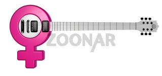 gitarre mit dem symbol für weiblich - 3d illustration