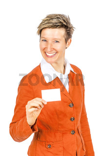 smiling women business card