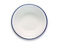 white enamel bowl with blue rim isolated on white