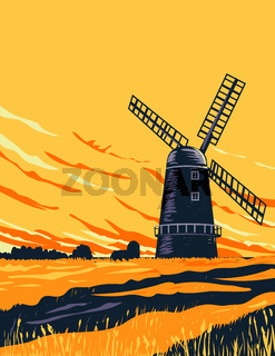 Drainage Windmill in Norwich in the Norfolk Broads Within the Broads National Park England UK Art Deco WPA Poster Art