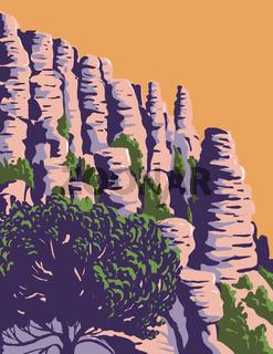 The Hoodoos and Balancing Rocks Chiricahua National Monument in the Chiricahua Mountains of Southeastern Arizona WPA Poster Art