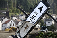 The destroyed sign St. Nepomuk winery and restaurant, flood disaster 2021, Rech, Germany, Europe