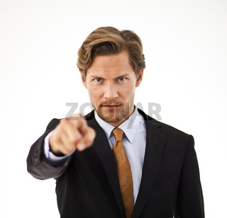 Young Businessman Pointing at the Camera