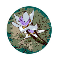Iris Flower Set Inside Circle WPA Poster Art