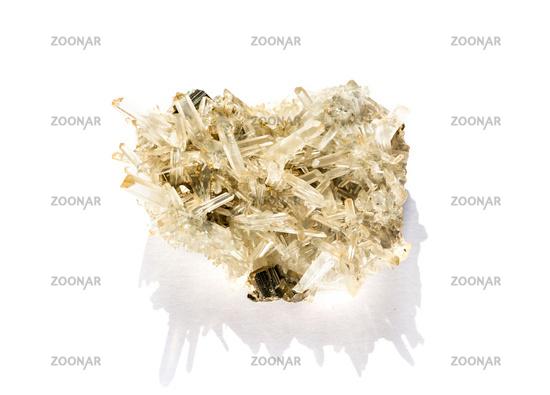 Quartz gemstone on a white background